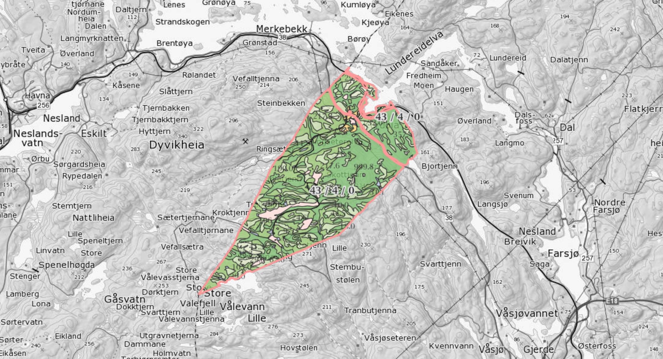 Kart som viser den største teigen i eiendommen